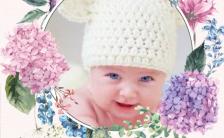 小清新宝宝百日宴邀请函花球唯美风格粉红色缩略图