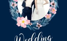 浪漫甜蜜温馨蓝色结婚请帖婚礼请柬通用邀请函缩略图