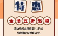 扁平复古大气五一促销劳动节特惠宣传H5模板缩略图