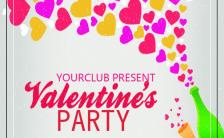 卡通2.14情人节俱乐部节日派对宣传手机海报缩略图