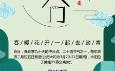 文艺清新中国传统二十四节气之春分宣传海报缩略图