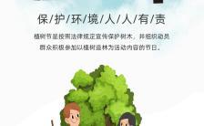 蓝色文艺312植树节知识普及公益宣传海报缩略图