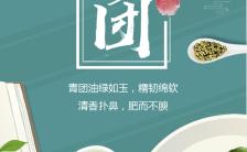 小清新中国风清明节青团主题传统文化宣传海报缩略图