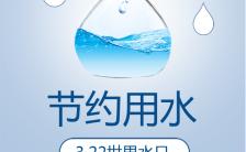 简约大气世界水日节约用水公益环保宣传手机海报缩略图