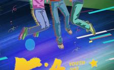 卡通时尚手绘紫色五四青年节文化宣传手机海报缩略图