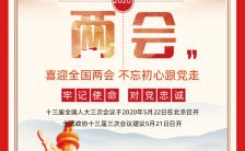 红色简约聚焦两会宣传两会手机海报缩略图