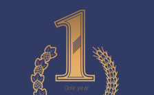 深蓝商务风餐饮行业一周年庆典邀请函手机海报缩略图