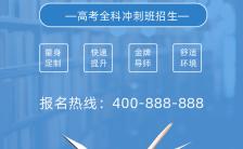 蓝色清新简约风高考冲刺班招生活动宣传手机海报缩略图