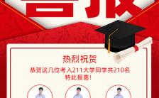 红色简约风格毕业中高考喜报海报缩略图