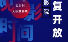 蓝色梦幻电影院恢复开放营业宣传手机海报缩略图