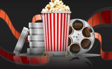 黑色大气电影院恢复开放促销活动手机海报缩略图