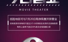 紫色梦幻电影院恢复开放营业宣传手机海报缩略图