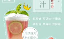 清新简约夏日清凉果汁饮品类半价优惠促销海报缩略图