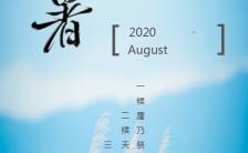 小清新蓝色企业通用二十四节气处暑宣传海报缩略图