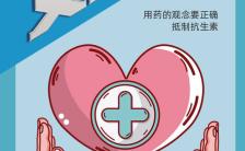 蓝色温馨安全用药宣传手机海报缩略图