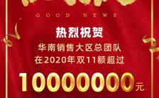 红色喜庆商务销售战报双十一双十二产品业绩海报缩略图