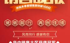 红色喜庆年报销售战报双十一双十二产品业绩海报缩略图