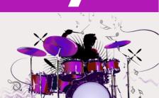 紫色简约乐器培训架子鼓兴趣班招生折扣促销手机海报缩略图