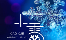 蓝色简约文艺清新小雪节气日签海报缩略图