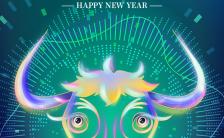 绿色炫酷风格牛年大吉2021宣传节日祝福手机海报缩略图