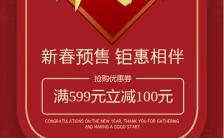红色喜庆风格开门红商家促销活动手机海报缩略图