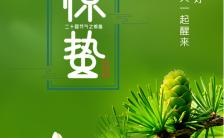 绿色简约文艺二十四节气惊蛰宣传手机海报缩略图