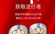 致敬巾帼英雄最美女神节一线工作人员抗击疫情感谢海报缩略图