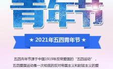 蓝色大气五四青年节精神活动宣传手机海报缩略图