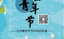 简约五四青年节节日知识科普弘扬五四精神手机海报缩略图
