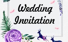 韩式风欧美风清新夏日风花朵婚礼紫色邀请函缩略图