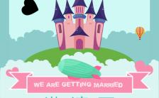 卡通动画蓝色系浪漫温馨天空之城婚礼邀请函缩略图