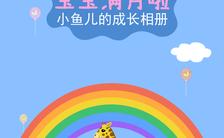 蓝色卡通风可爱宝宝节日Q版版纪念相册邀请函缩略图