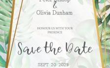 森系简约大理石清新手绘绿植金色异形边框婚礼邀请函H5模板缩略图