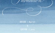 蓝色水彩手绘时尚大气简约请柬婚礼邀请函H5模板缩略图