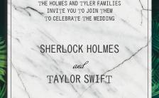 大理石绿色植物极简唯美婚礼邀请函请柬H5模板缩略图