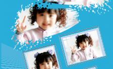 蓝色质感儿童生日晒照手机海报缩略图