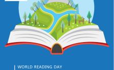 蓝色简约世界读书日通用手机海报 缩略图